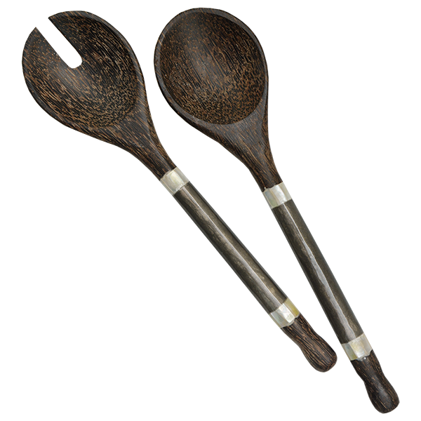 Silver Capiz & Palm Wood Salad Servers, Small