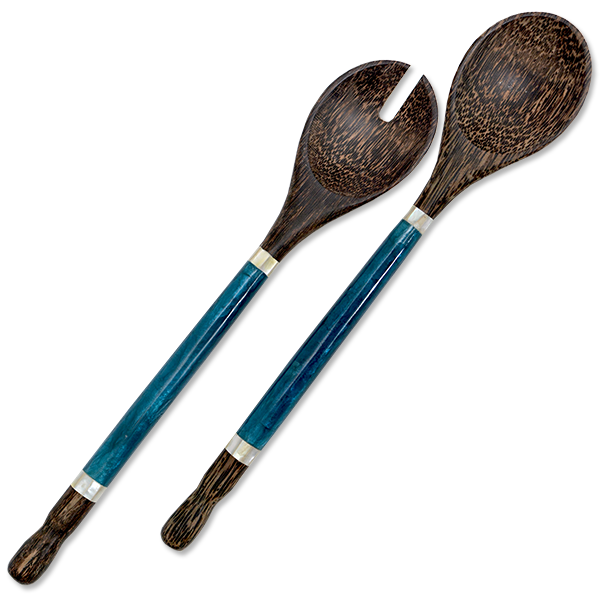 Indigo Capiz & Palm Wood Salad Servers