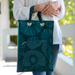 Dark Emerald Retro Flowers Envelope Laptop Bag