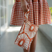 Rust Retro Flowers Envelope Bag