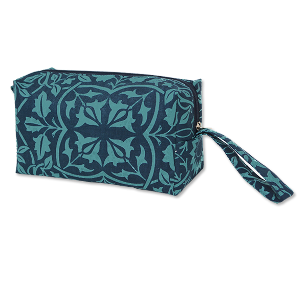 Classical Teal Indigo Cosmetic Case, Medium