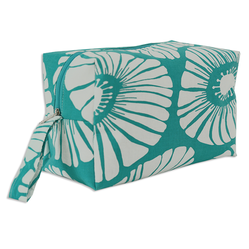 Retro Flowers Turquoise Cosmetic Case, Large