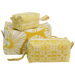 Yellow Retro Flowers Cosmetic Case, Large