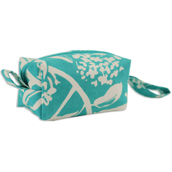 Frangipani Turquoise Cosmetic Case, Small