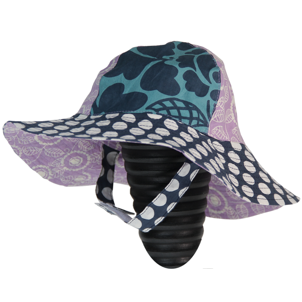 Dots Indigo Scrappy Sun Hat, Medium (1 year) - SALE CLOTHING & KIDS