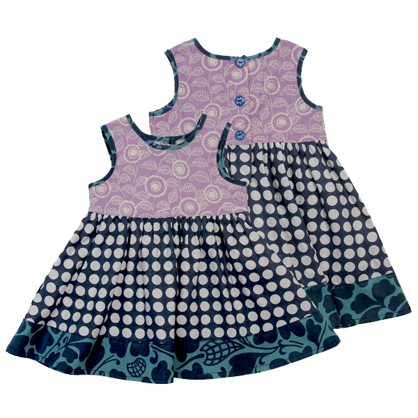 Little Scrappy Sun Dress - Blue Dots in 5 sizes