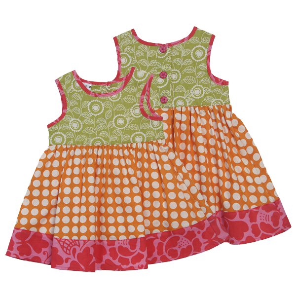 Dots Orange Scrappy Sun Dress, 5 sizes