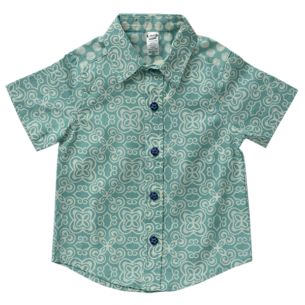 Turquoise Button Down Scrappy Shirt, 4 Sizes