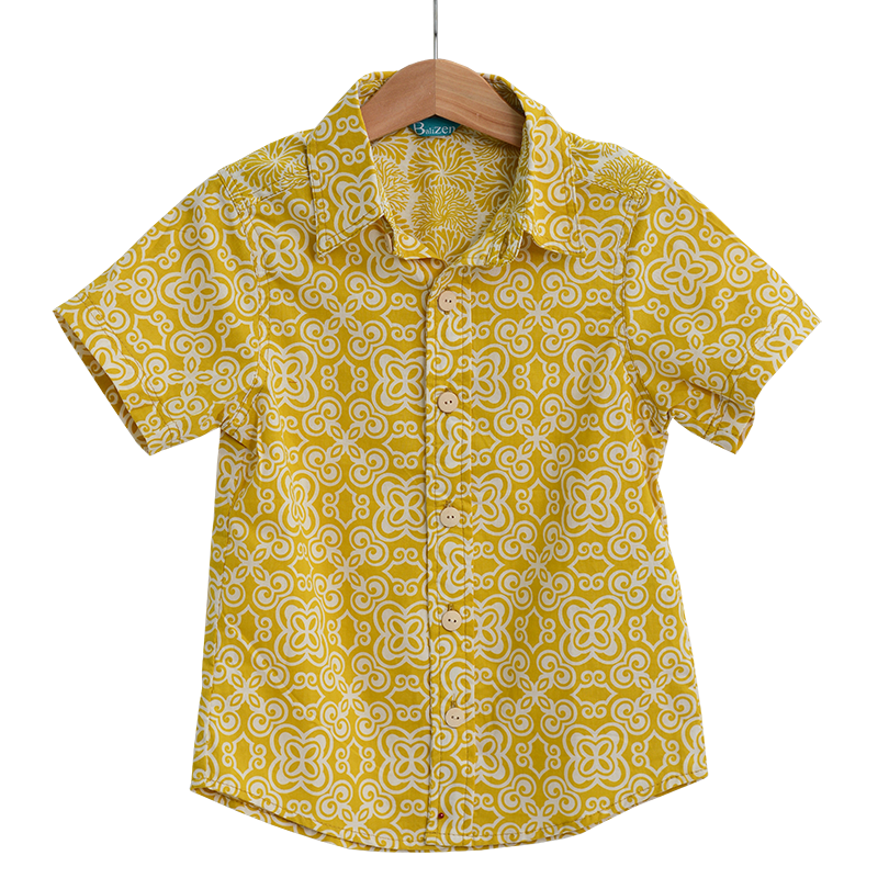 Yellow Button Down Scrappy Shirt in 4 sizes