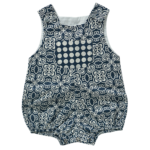 Indigo Cotton Romper, 3 sizes