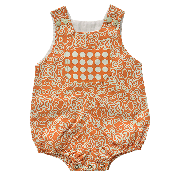 Orange Cotton Romper, 2 sizes
