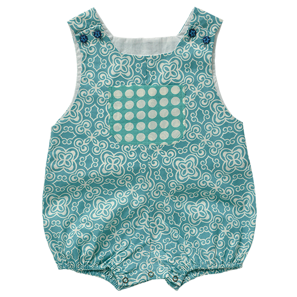 Turquoise Cotton Romper, 3 sizes