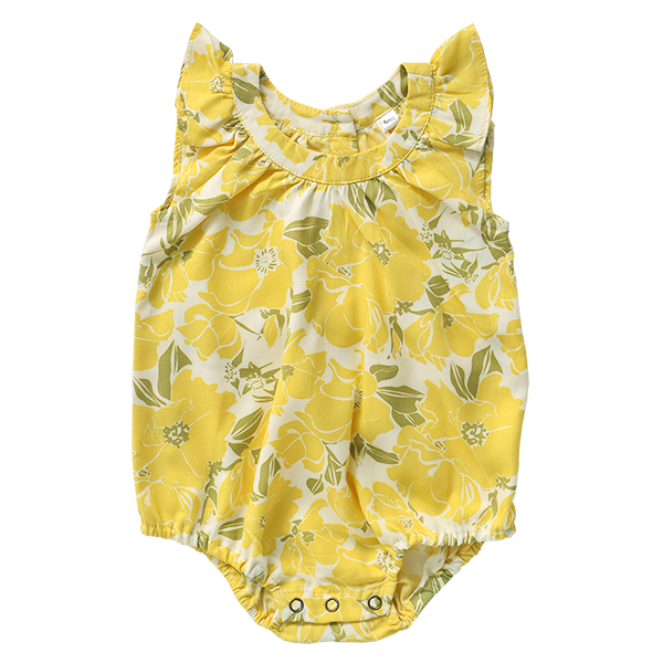 Rose Yellow Rayon Romper, 3 sizes
