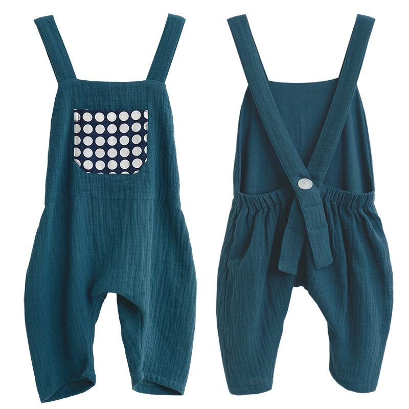 Teal Cotton Crinkle Overalls in 3 sizes