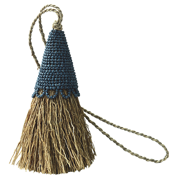 Indigo Beaded Vetiver Tassel