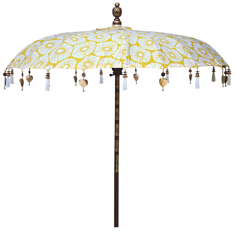 Yellow Retro Flowers Umbrella, Large