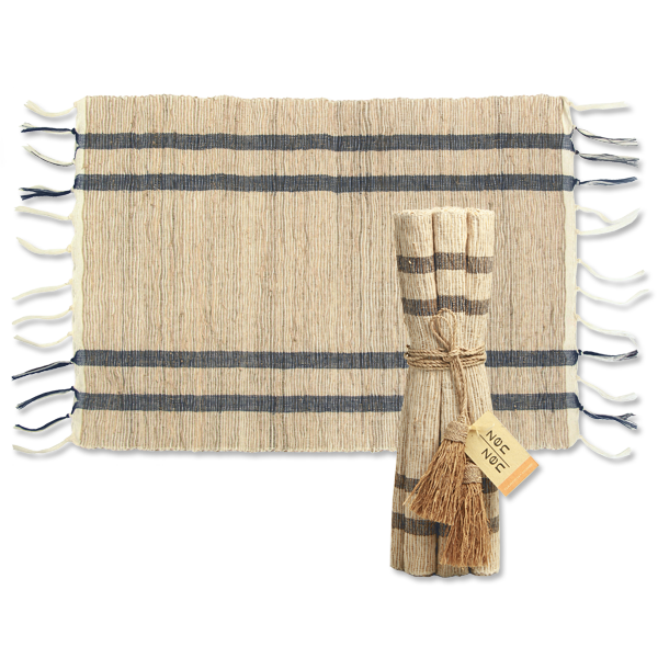 Stripes Indigo Natural Vetiver Placemat, Set of 6