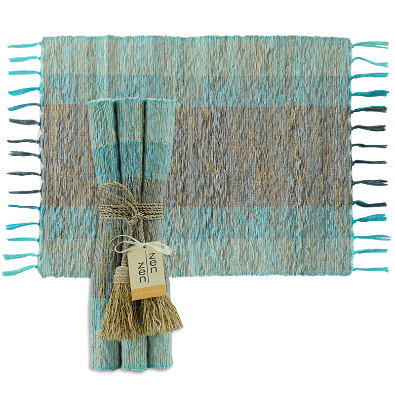 Turquoise Grey Vetiver Placemat, Set of 6