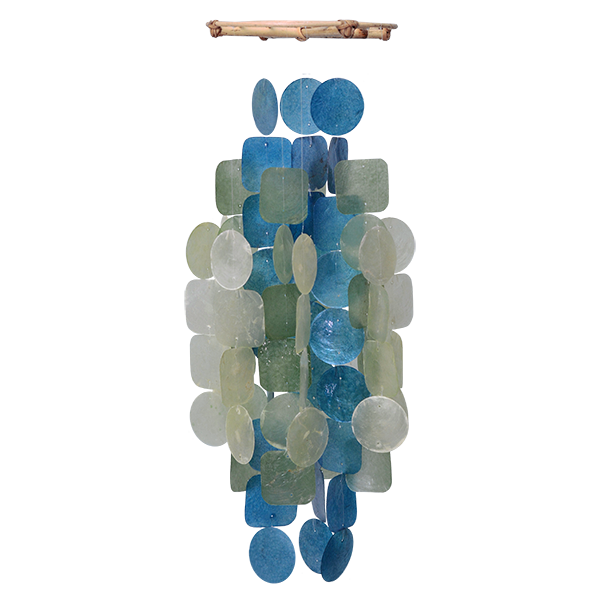 Green & Blue Capiz Wind Chime, Medium