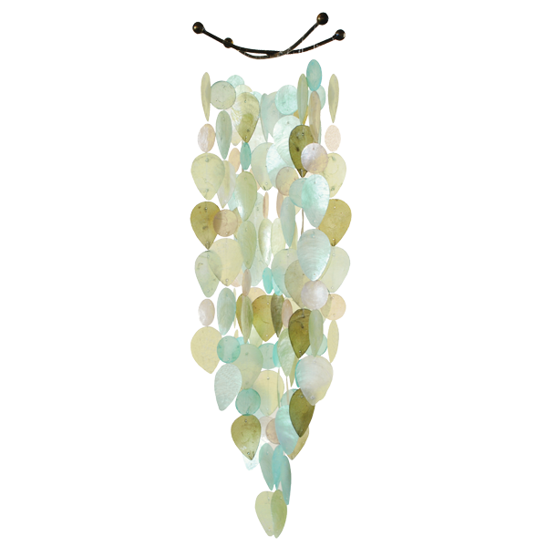 Leaf Cool Tones Capiz Wind Chime, Large