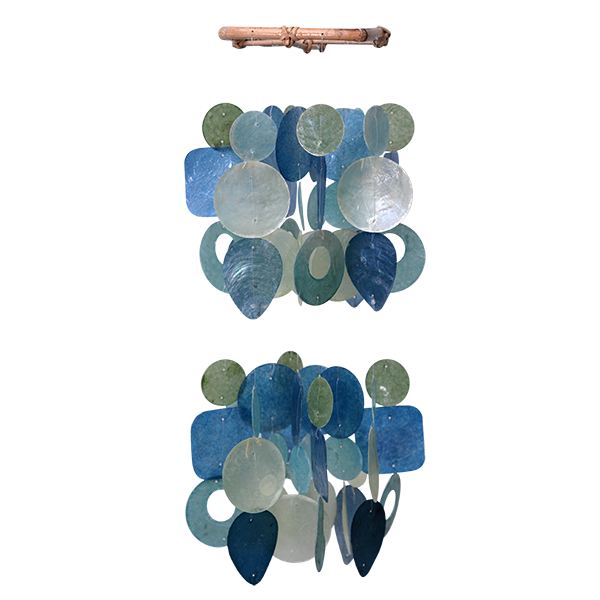 Green & Blue Capiz Wind Chime, Mini