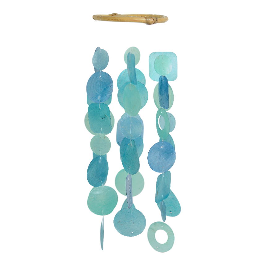 Blue Turquoise Capiz Wind Chime, Small