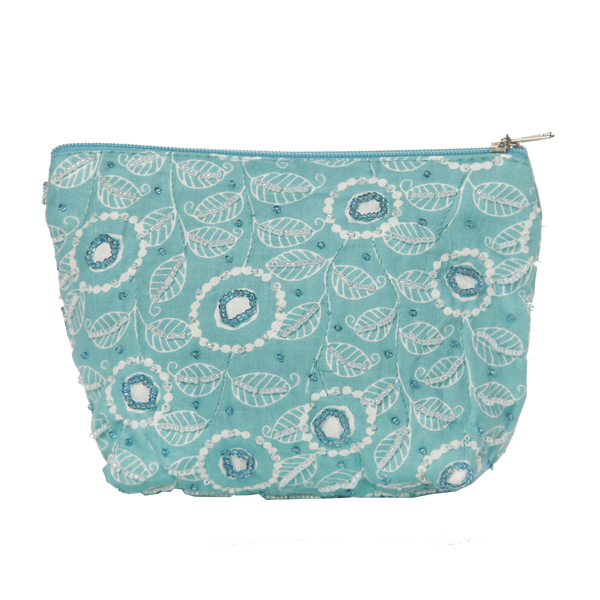 Modern Turquoise Beaded Cosmetic Case