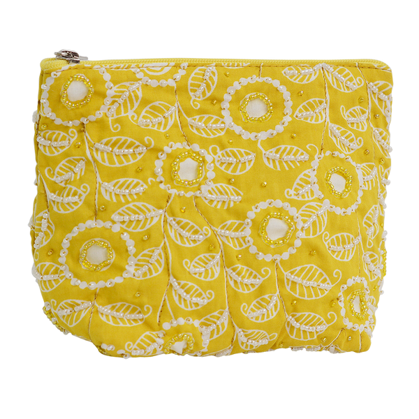Modern Yellow Beaded Cosmetic Case