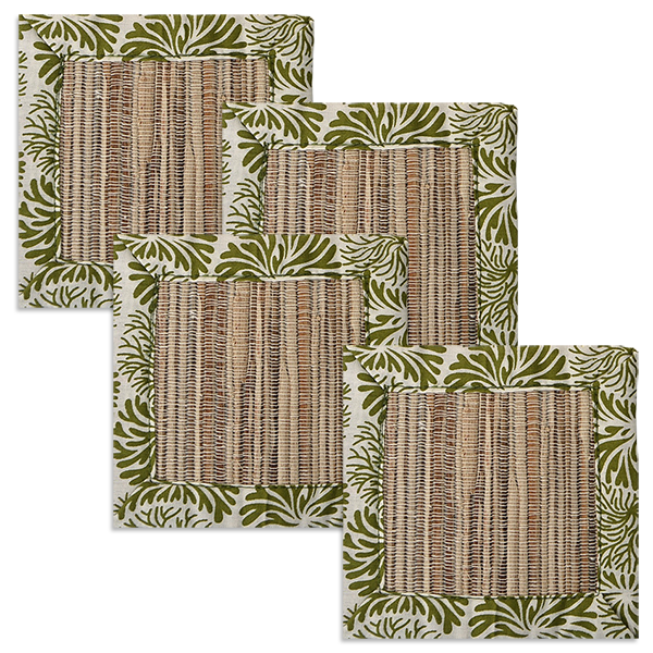 Tumbleweed Avocado Waterlily Coaster, set of 4