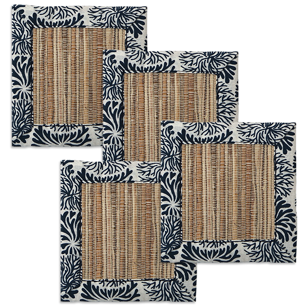 Tumbleweed Indigo Waterlily Coaster, set of 4