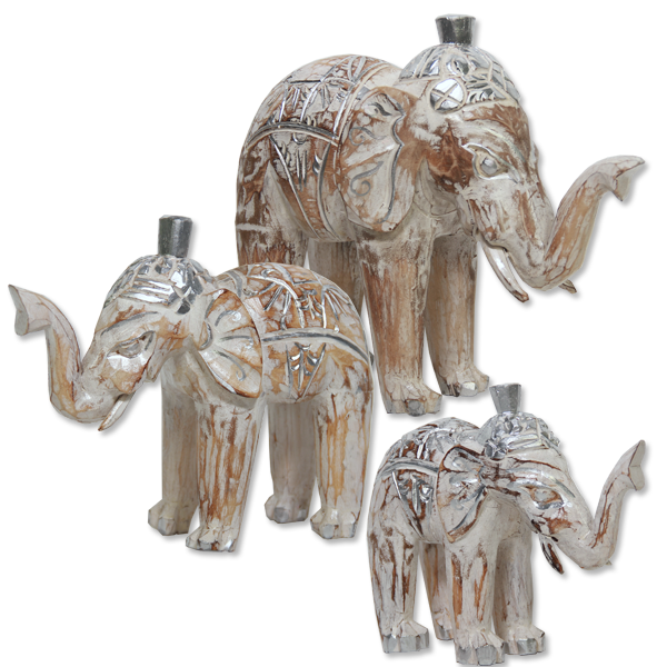 White-Wash Elephant, 2 Sizes