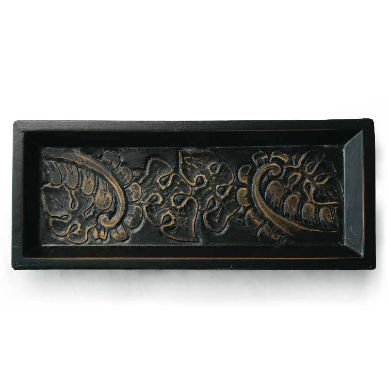 Black Carved Wooden Mini Tray