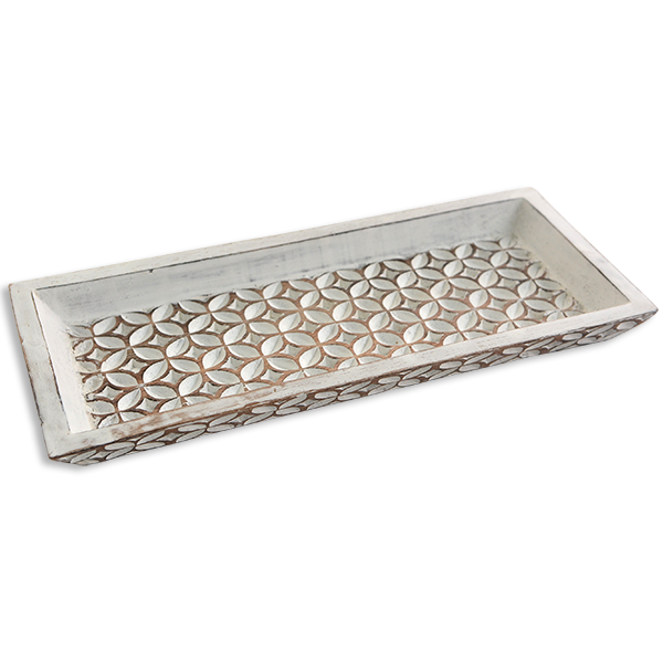 Carved Wooden mini tray - Whitewash