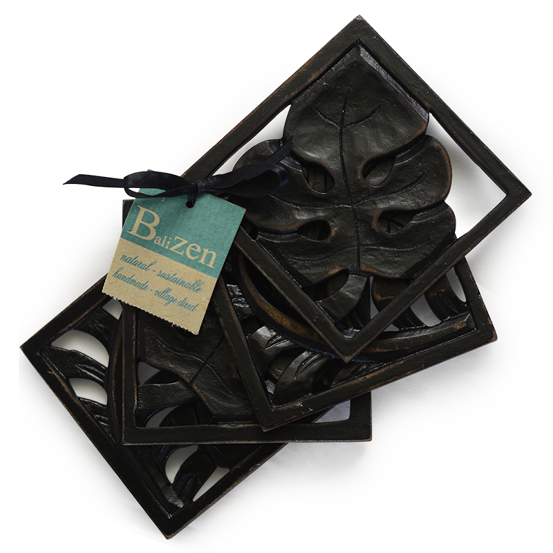 Black Leaf Wooden Coaster, Set of 4