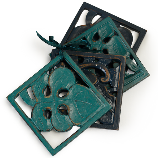 Navy Teal Leaf Wooden Coaster, Set of 4