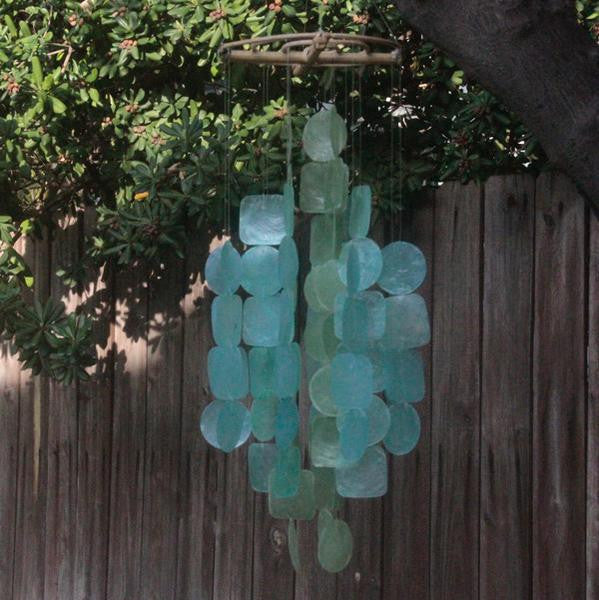 Tide Pool Teal Capiz Wind Chime, Medium