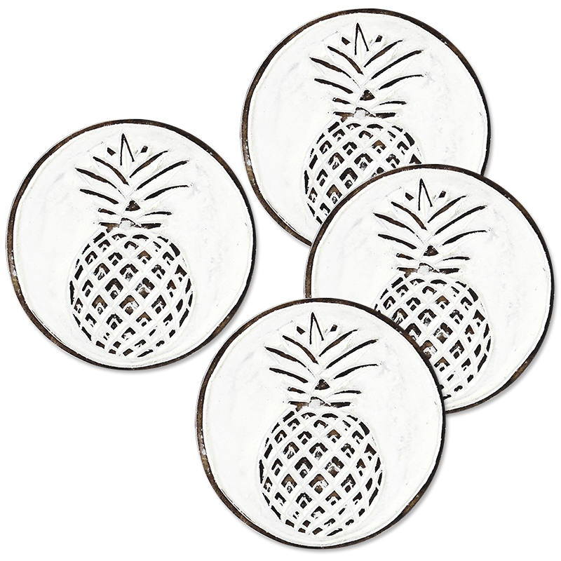 Whitewash Pineapple Wooden Coaster, Set of 4