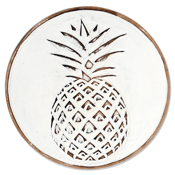 Whitewash Pineapple Wooden Trivet, 2 sizes