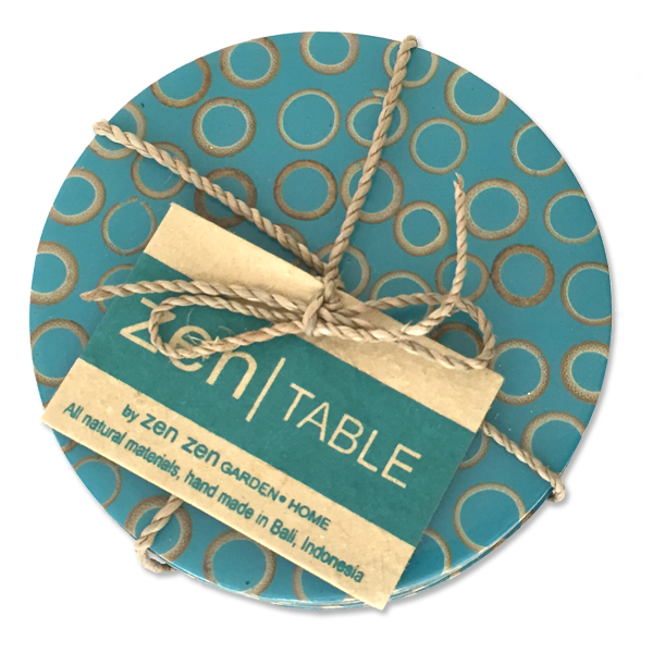 Teal Bamboo Inlaid Coasters, Set of 4