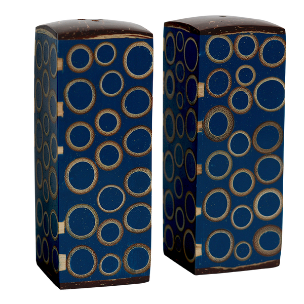Navy Bamboo Inlaid Salt and Pepper