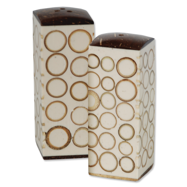 Natural Bamboo Inlaid Salt and Pepper