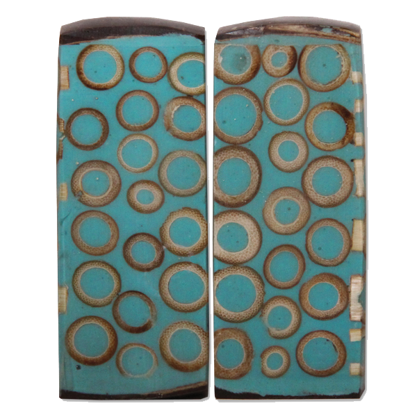 Teal Bamboo Inlaid Salt and Pepper