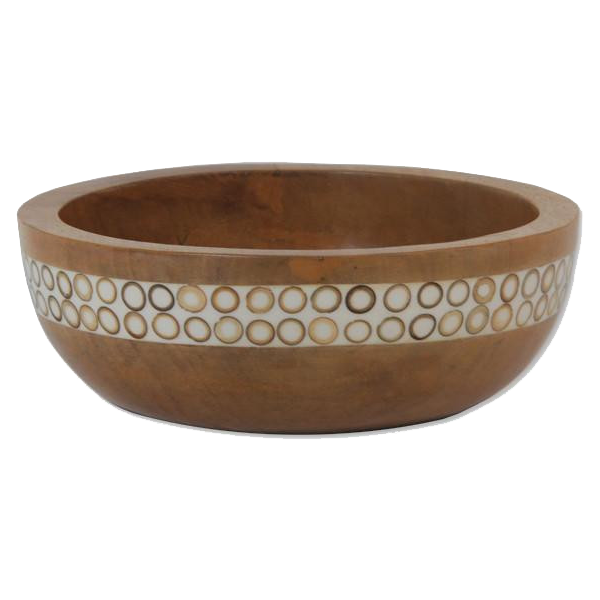 Natural Inlaid Mango Wood Salad Bowl, Small