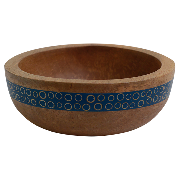 Navy Inlaid Mango Wood Salad Bowl, Small
