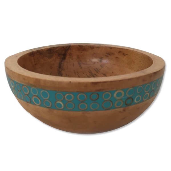 Turquoise Inlaid Mango Wood Salad Bowl, Small
