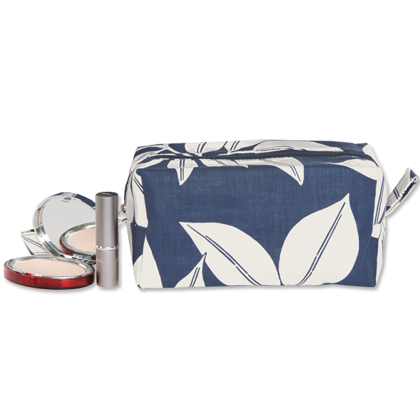 Leaf Indigo Cosmetic Case, Medium