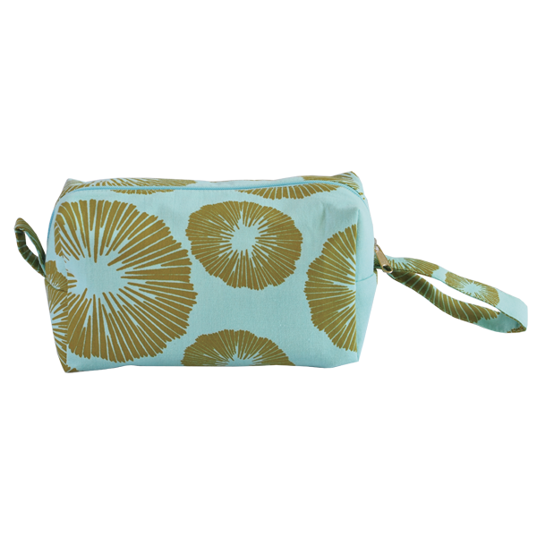 Seaflower Olive Aqua Cosmetic Case, Medium