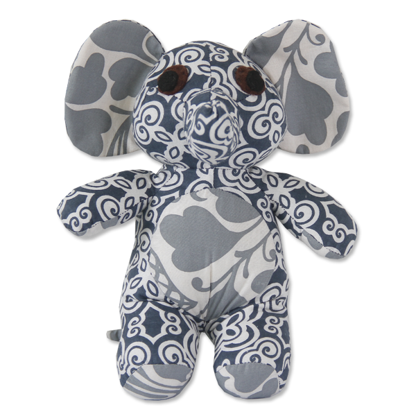 Indigo Scrappy Patchwork Elephant, 2 Sizes