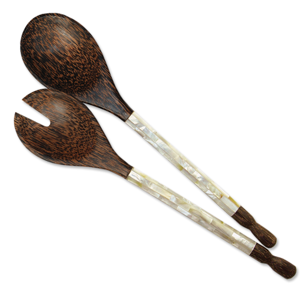 Mother of Pearl & Palm Wood Salad Servers