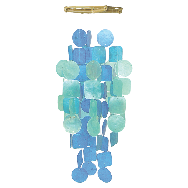 Blue Turquoise Capiz Wind Chime, Medium